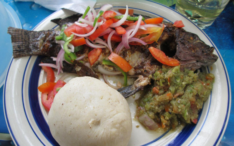Tilapia with Banku and Hot Grounded Pepper
